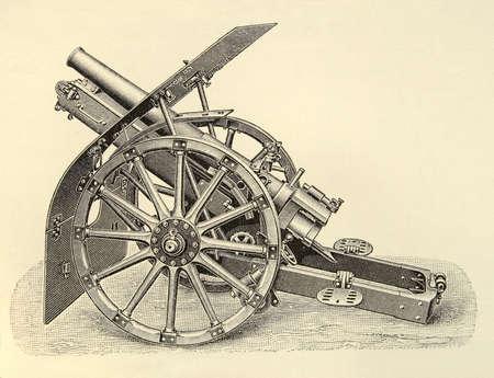 bombard: engraving of an old gun