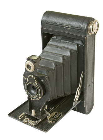folding camera: vintage folding camera isolated in white Stock Photo