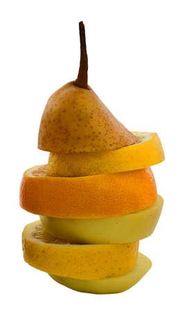 incompatible: fruit pyramid Stock Photo
