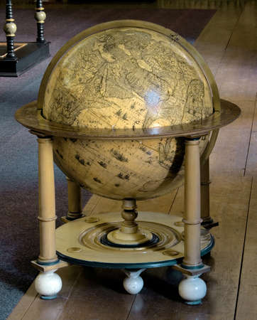 vintage globe in old baroque library Stock Photo - 7556758