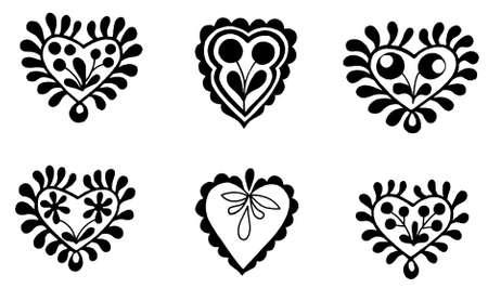 folkstyle: folk-style heart symbols in black