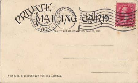 backside: vintage postcard with a stamp