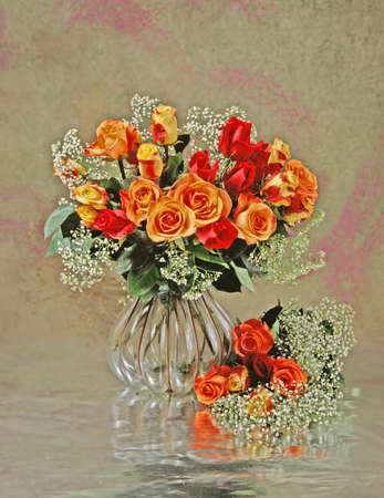 still-life with a roses in glass vase photo