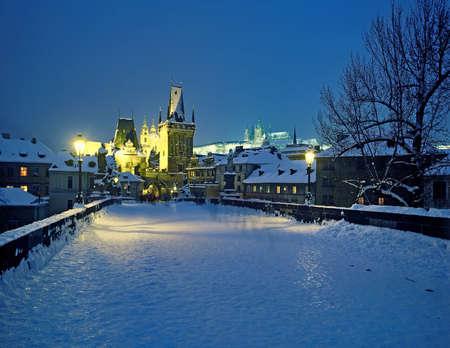 Prague - winter night view from Charles Bridge to Castle Stock Photo - 7577917