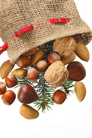 Christmas Stocking with nuts isolated in white photo
