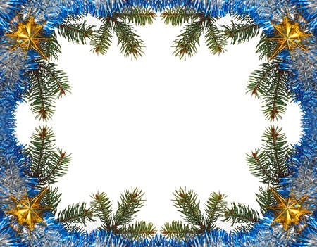 Isolated christmas frame with a branches, star and photo