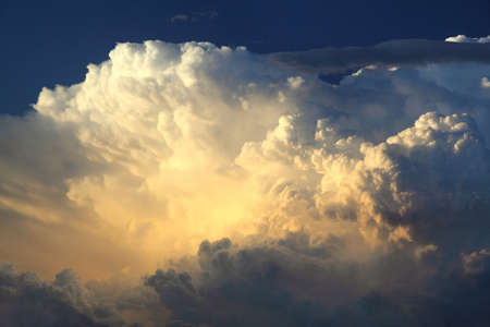 dramatically: Dramatically illuminated clouds in the evening sky