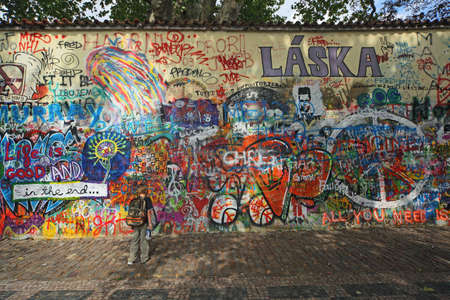 painted wall: the famous Lennon wall in Prague