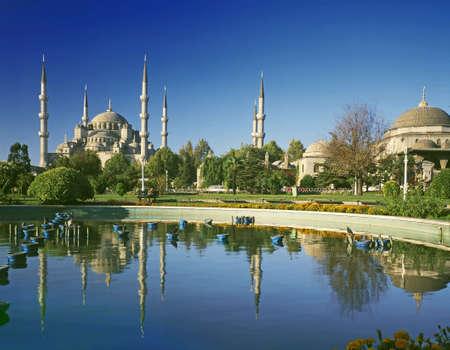 oog op de Blauwe moskee-Istanbul Turkije Stockfoto