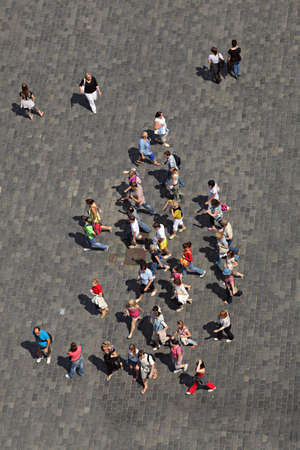 people in a hurry from birds eye view Editorial