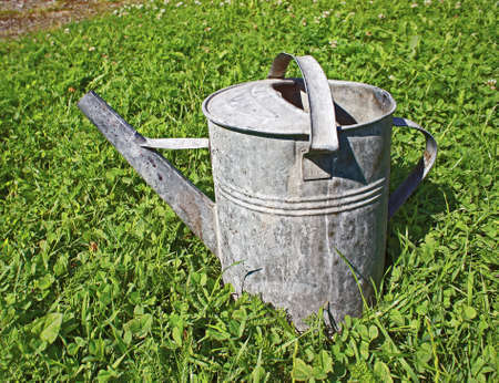 old watering can in gras