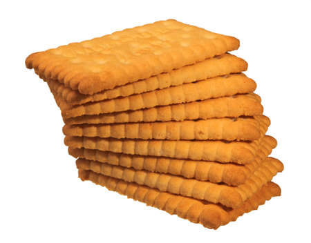 stack of butter biscuits isolated in white Standard-Bild