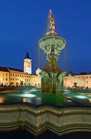 Ceske Budejovice night view to the main square with Samson fountain