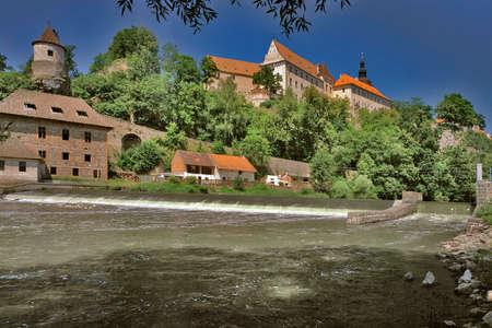 Bechyne castle - view across the Luznice river - Czech Republic