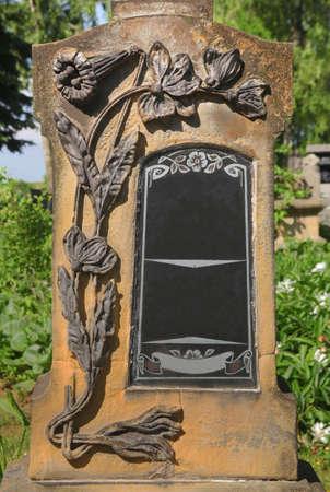 art noveau tomb with the empty tombstone Standard-Bild