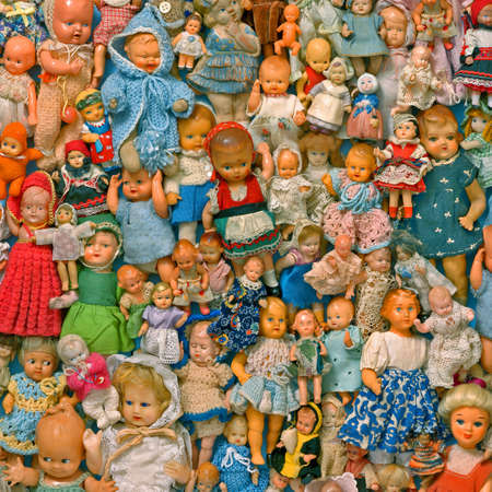 still life with a collection´s dolls