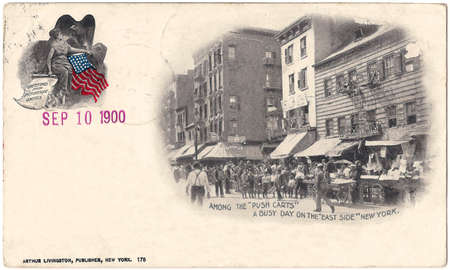 Vintage postcard from New York,East Side