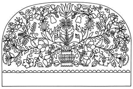 folk black and white floral ornament