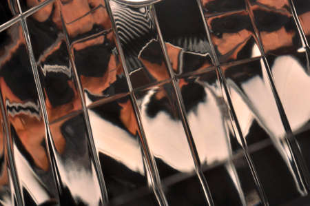 structure in pink color at a glass surface