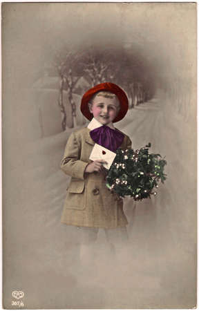 sentiment: Vintage photo Christmas greeting card
