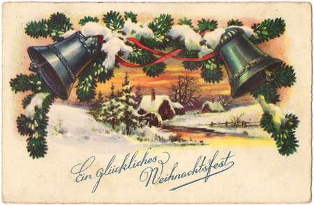 painted, vintage, Christmas post card