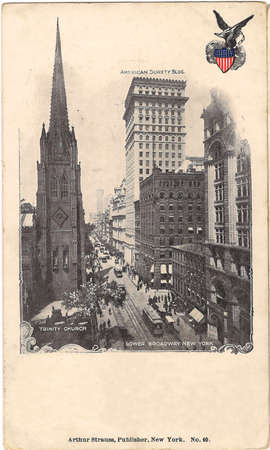 Alte Postkarte aus New York, Lower Broadway Standard-Bild - 53270197
