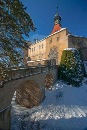 Castle Namest nad Oslavou in winter Editorial