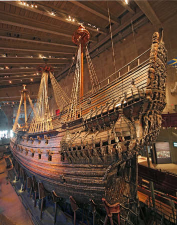 old ship: Stockholm, Vasa ship from the stern Editorial