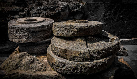 Ancient Indian grinding tools made from Black stone having Golden outer layer.