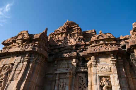 Low angle shot of ancient sangameshwara temple at Pattadakal, Karnataka