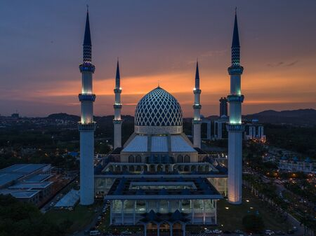 SHAH ALAM, MALAYSIA - 27 APRIL 2017 - A sunset at Blue Mosque, Shah Alam, Malaysia. Blue Mosque or The Sultan Salahuddin Abdul Aziz Shah Mosque is the state mosque of Selangor, Malaysia. Editöryel