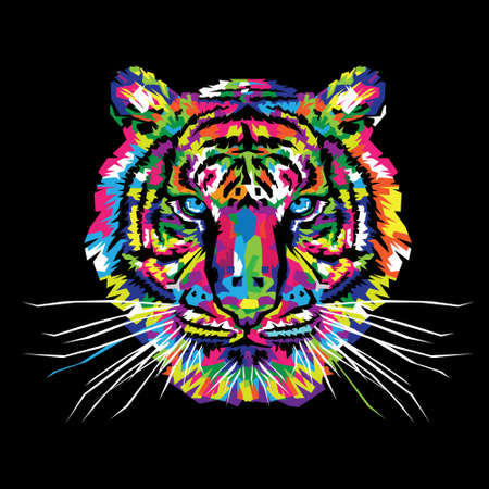 Colorful Tiger Illustration, Tiger Art, Tiger Design Illusztráció