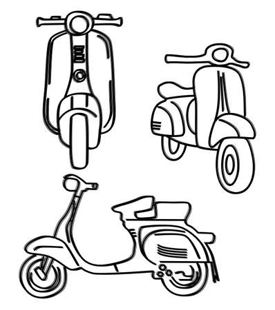 scooter: schetsen pictogram scooter