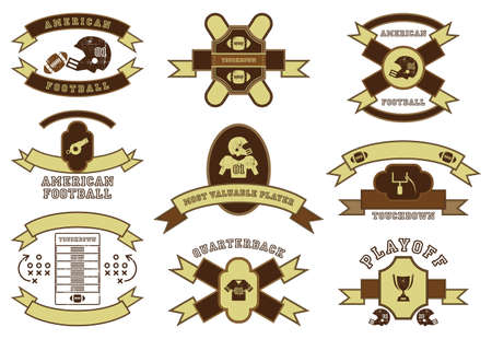 american football set icon vintage label Vector