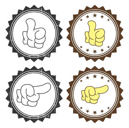 vintage label hand gesture Vector