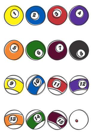 billiard illustration ball set Vector