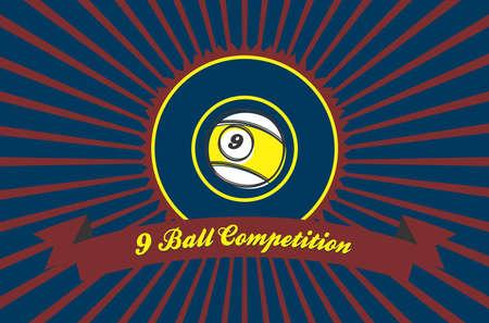 billiard illustration nine ball Vector