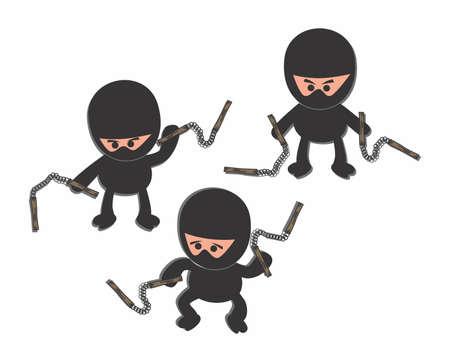 ninja cartoon stick Illustration