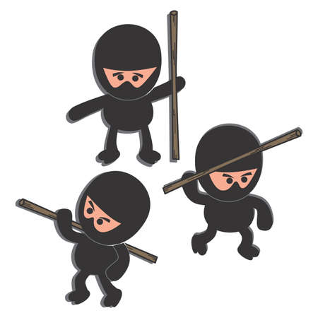 ninja cartoon woods Vector