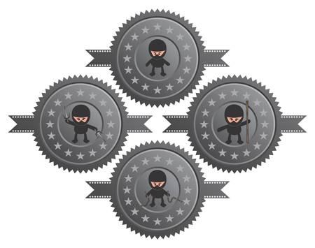 ninja cartoon label Vector