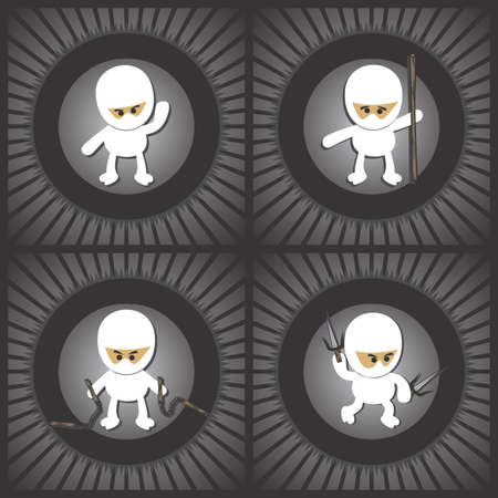 ninja cartoon vintage Vector