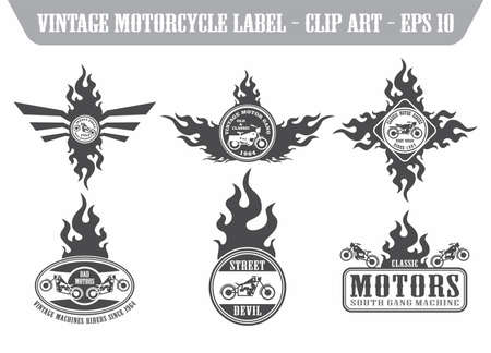 old motorcycle art label set Ilustração