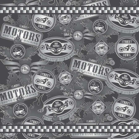 motorcycle art label line