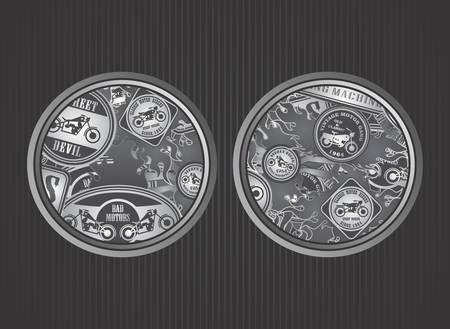 motorcycle art label round Ilustração