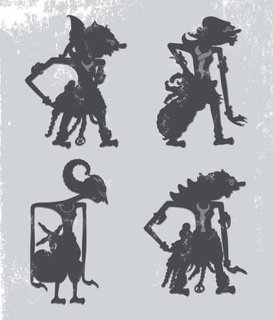 shadow puppets: wayang kulit indonesia puppet Illustration