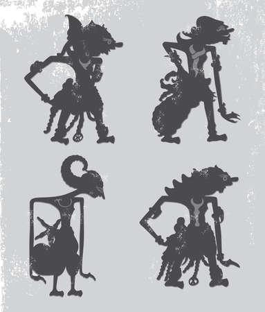 wayang kulit indonesia puppet Ilustração