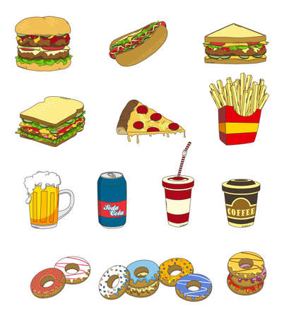 fast food set icon simple Vector