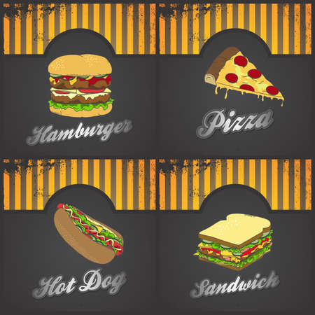 fast food set art Vector