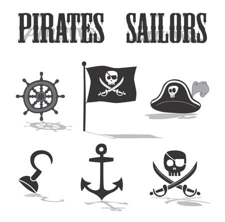 cartoon pirate black icon Stock Vector - 20477536