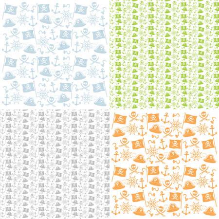 seamless pattern background pirate set